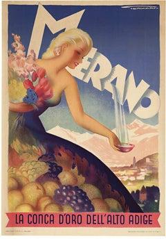 """Merano La Conca d""""oro dell'Alto Adige original vintage lithograph poster"""