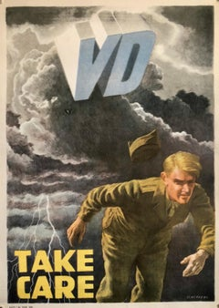 Original Vintage Color World War 2 Propaganda Poster TAKE CARE Offset Lithograph