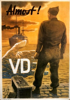 "Original Vintage Color World War II Propaganda Poster ""Almost"" Offset Lithograph"
