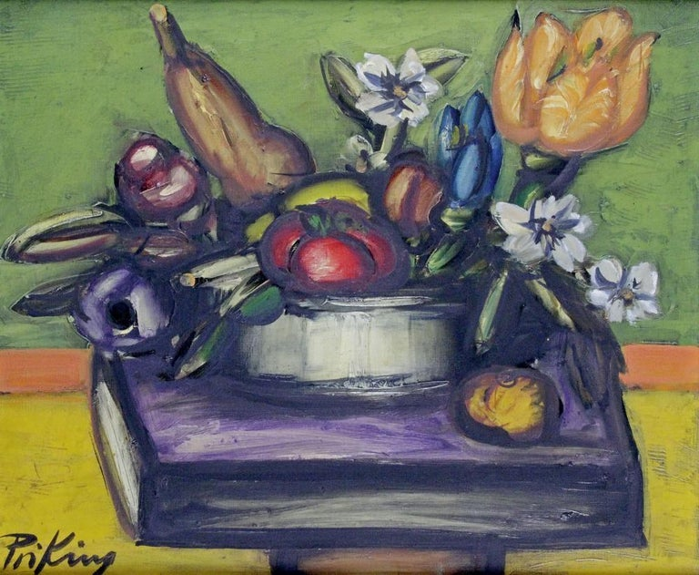 Franz Priking (1929-1979) still life of fruits and flowers, oil on canvas. Signed lower left.