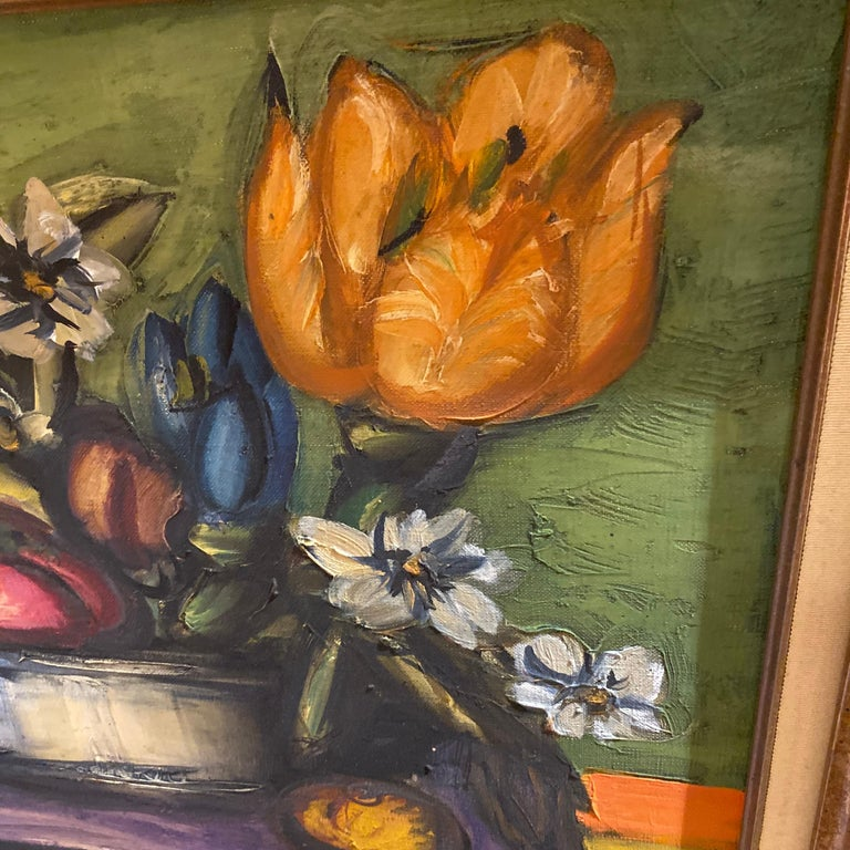French Franz Priking Still Life of Fruits and Flowers For Sale