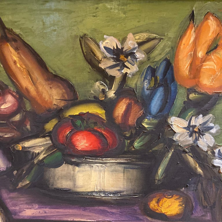 Oiled Franz Priking Still Life of Fruits and Flowers For Sale