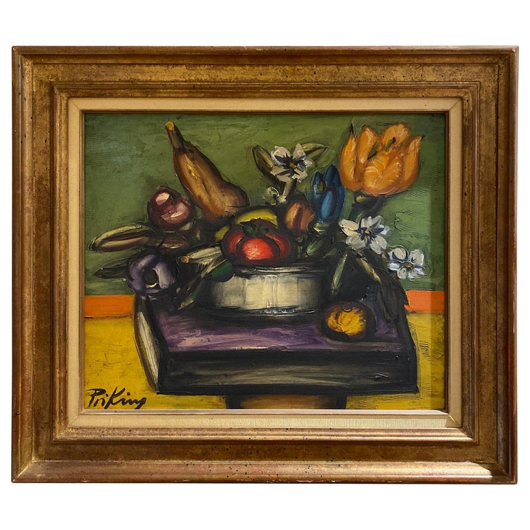 Franz Priking Still Life of Fruits and Flowers For Sale