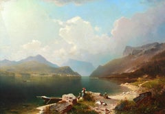Early Morning-Achen Lake, Austria - Romantic Oil, Figures by Lake by Unterberger