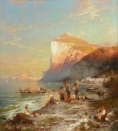 Italian coastal scene of Fishing village in Capri