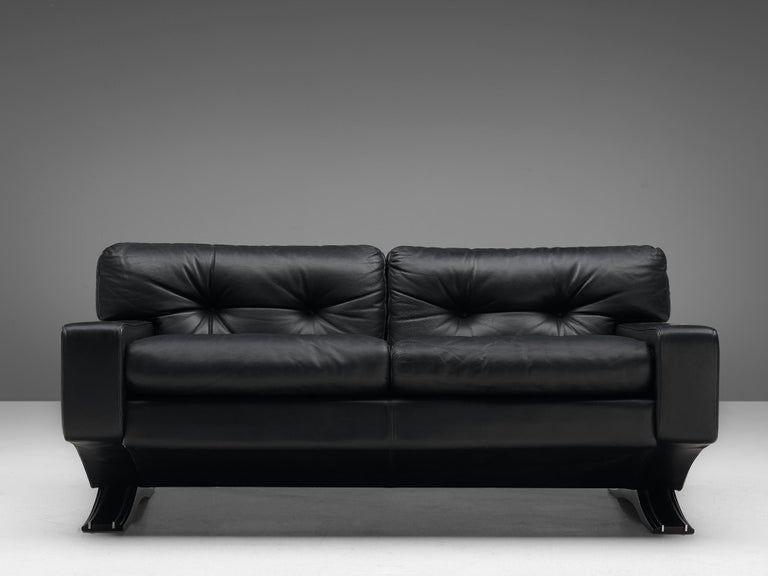 Mid-Century Modern Franz Sartori for Flexform Sofa in Black Leather For Sale