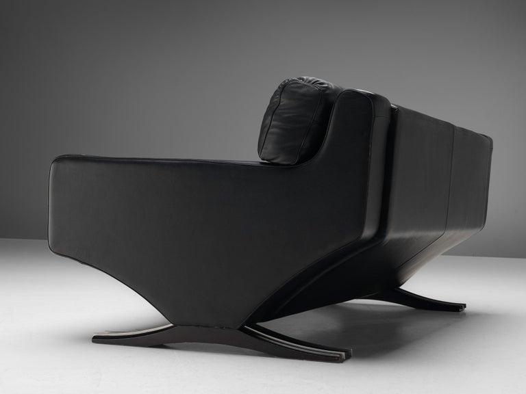 Italian Franz Sartori for Flexform Sofa in Black Leather For Sale