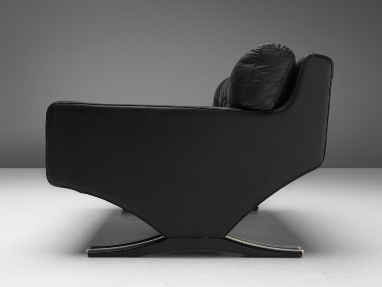 Franz Sartori for Flexform Sofa in Black Leather In Good Condition For Sale In Waalwijk, NL