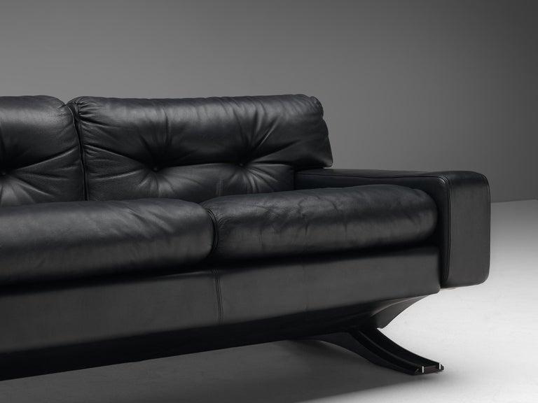 Late 20th Century Franz Sartori for Flexform Sofa in Black Leather For Sale