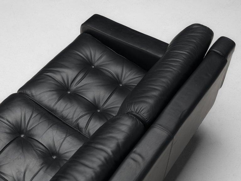Franz Sartori for Flexform Sofa in Black Leather For Sale 1