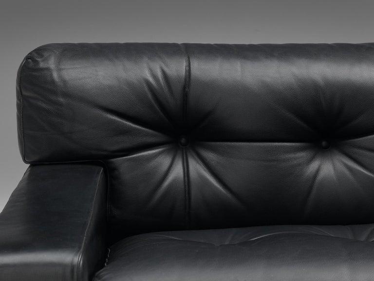 Franz Sartori for Flexform Sofa in Black Leather For Sale 2