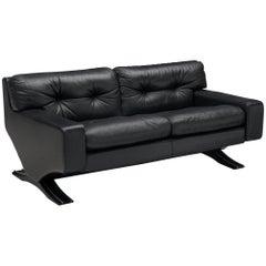 Franz Sartori for Flexform Sofa in Black Leather