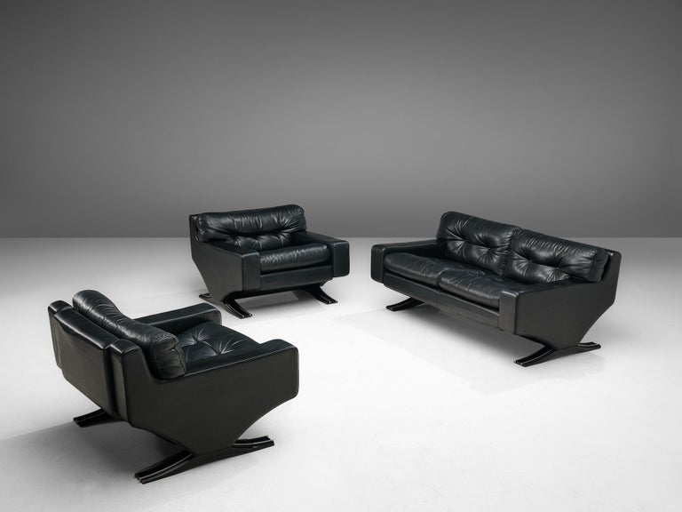 Franz Sartori Pair of Armchairs in Black Leather for Flexform For Sale 4