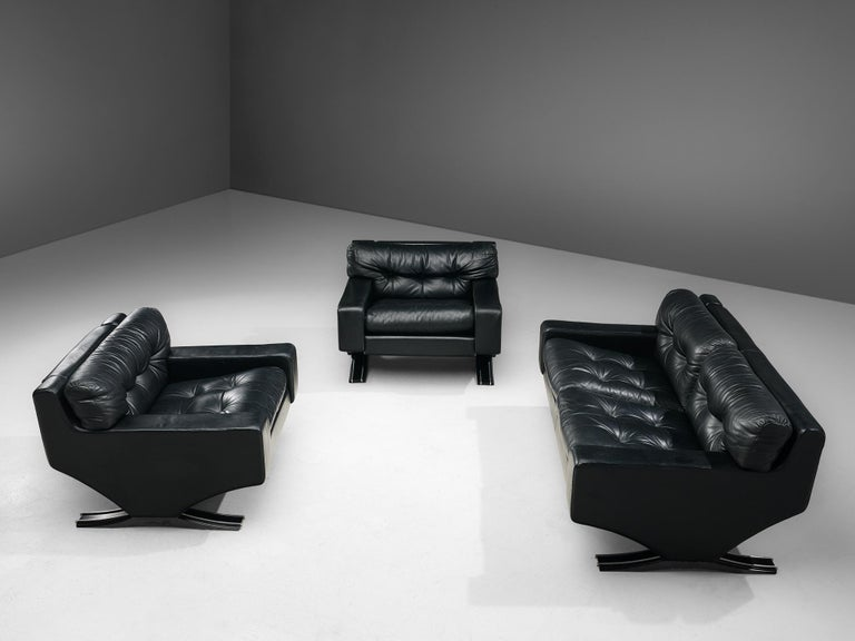 Franz Sartori Pair of Armchairs in Black Leather for Flexform For Sale 5