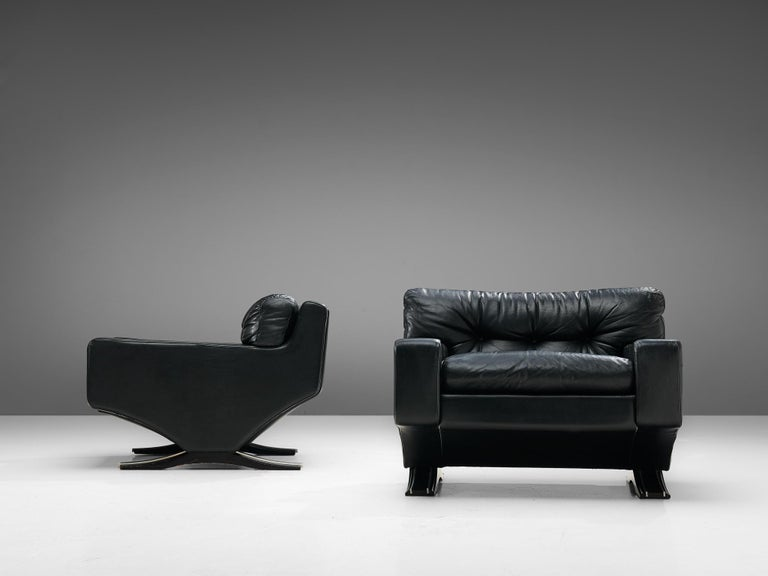 Franz Sartori Pair of Armchairs in Black Leather for Flexform In Good Condition For Sale In Waalwijk, NL