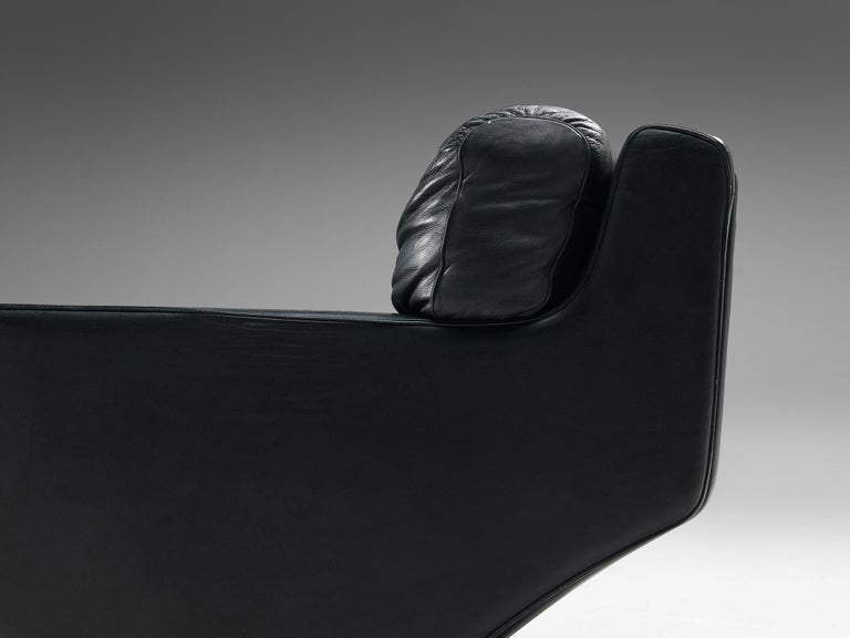 Mid-20th Century Franz Sartori Pair of Armchairs in Black Leather for Flexform For Sale