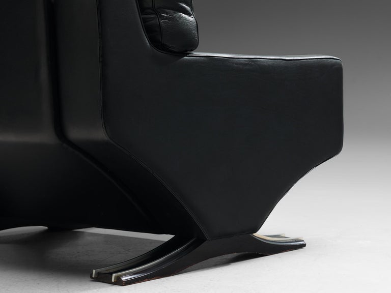 Franz Sartori Pair of Armchairs in Black Leather for Flexform For Sale 1