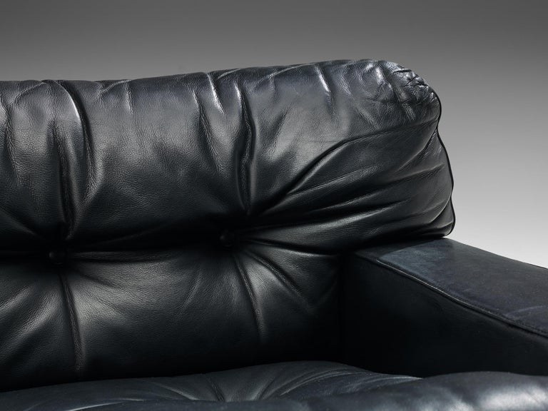 Franz Sartori Pair of Armchairs in Black Leather for Flexform For Sale 3