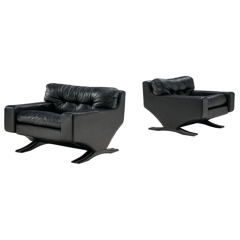 Franz Sartori Pair of Armchairs in Black Leather for Flexform For Sale