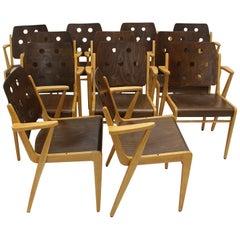 Franz Schuster Mid-Century Modern Vintage Twelve Bicolor Dining Chairs, Vienna