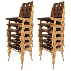 Franz Schuster Stackable Dining Chairs, Set of Twelve, Austria, 1950s
