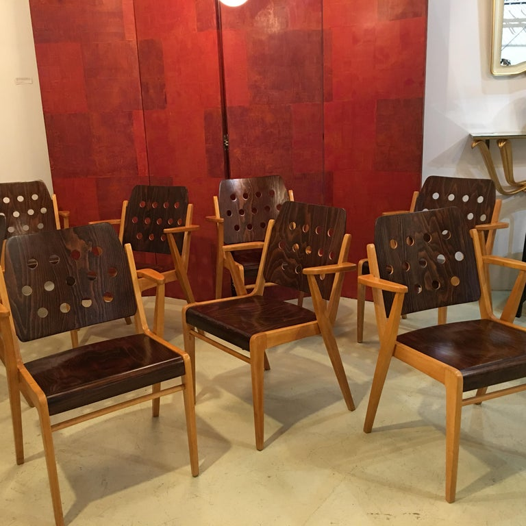 Beech Franz Schuster Ten Stacking Armchairs, Austria For Sale