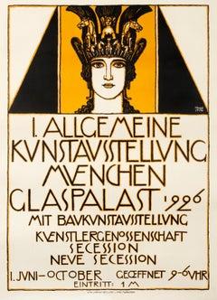 """""""Allgemeine Kunstaustellung"""" Munich Secession Original Vintage Exhibition Poster"""