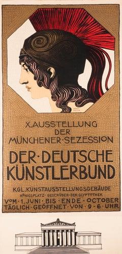 """""""Der Deutsche Kunstlerbund"""" Munich Secession Original Vintage Exhibition Poster"""