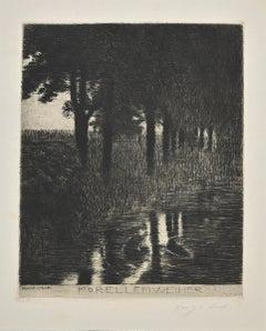 Forellenweiher - Original Etching and Drypoint by Franz Von Stuck - 1890s