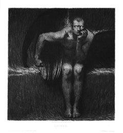 Lucifer - Etching and Aquatint by Franz von Stuck - 1889