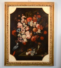 Floral Still Life Parrot Monkey Art Italy Baroque 17th Century Oil Canvas Paint