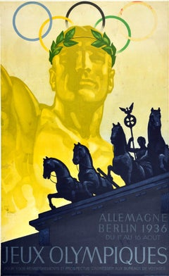 Original Vintage Sport Poster 1936 Olympic Games Berlin Germany Brandenburg Gate