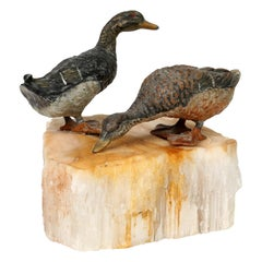 Franz Xaver Bergman Viennese Cold Painted Wild Geese Standing on Ice