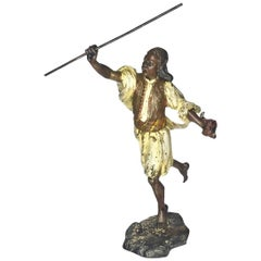 Franz Xaver Bergmann, Moorish Warrior, Vienna Bronze Sculpture, Ca. 1900