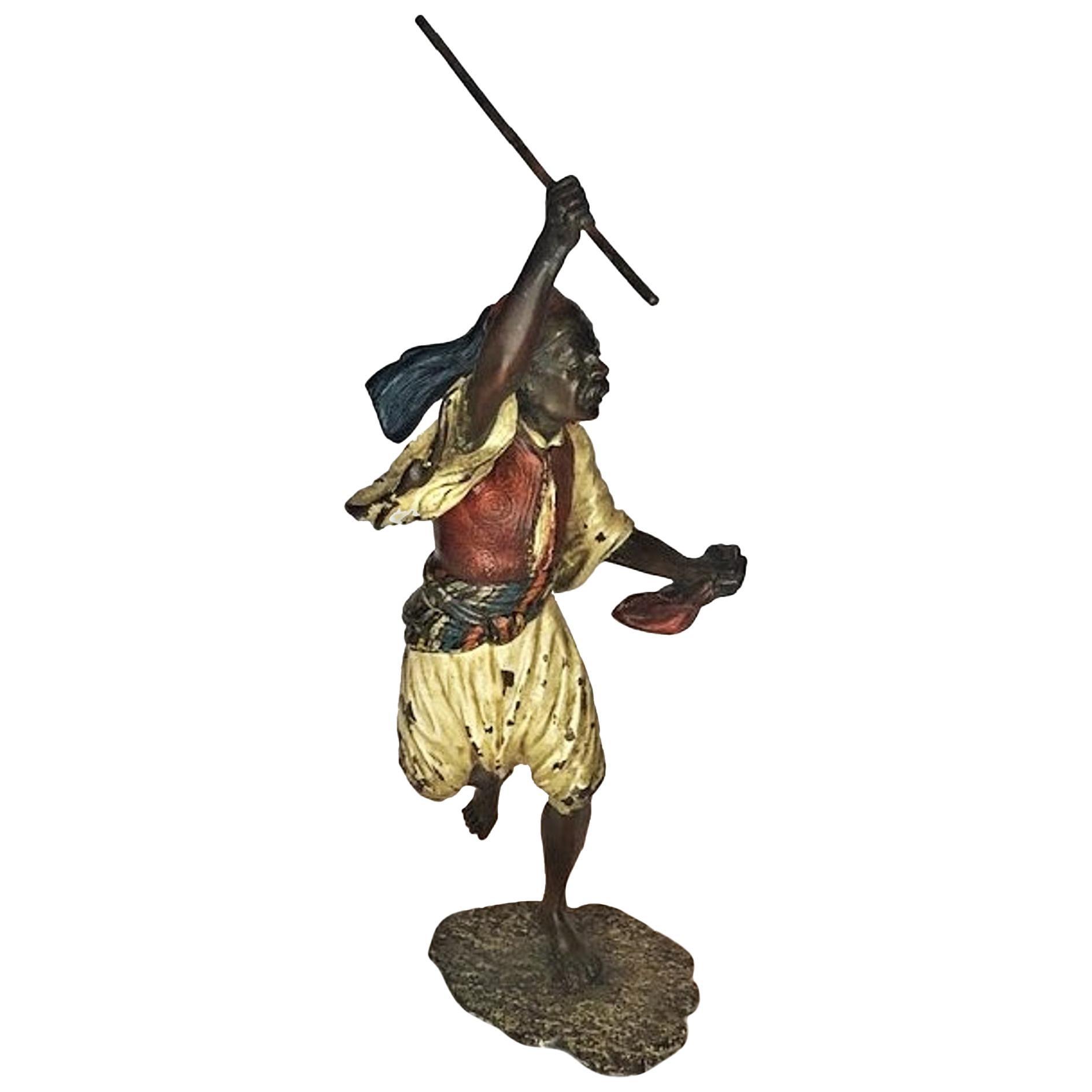 Franz Xaver Bergmann, Moorish Warrior, Vienna Bronze Sculpture, Ca. 1900