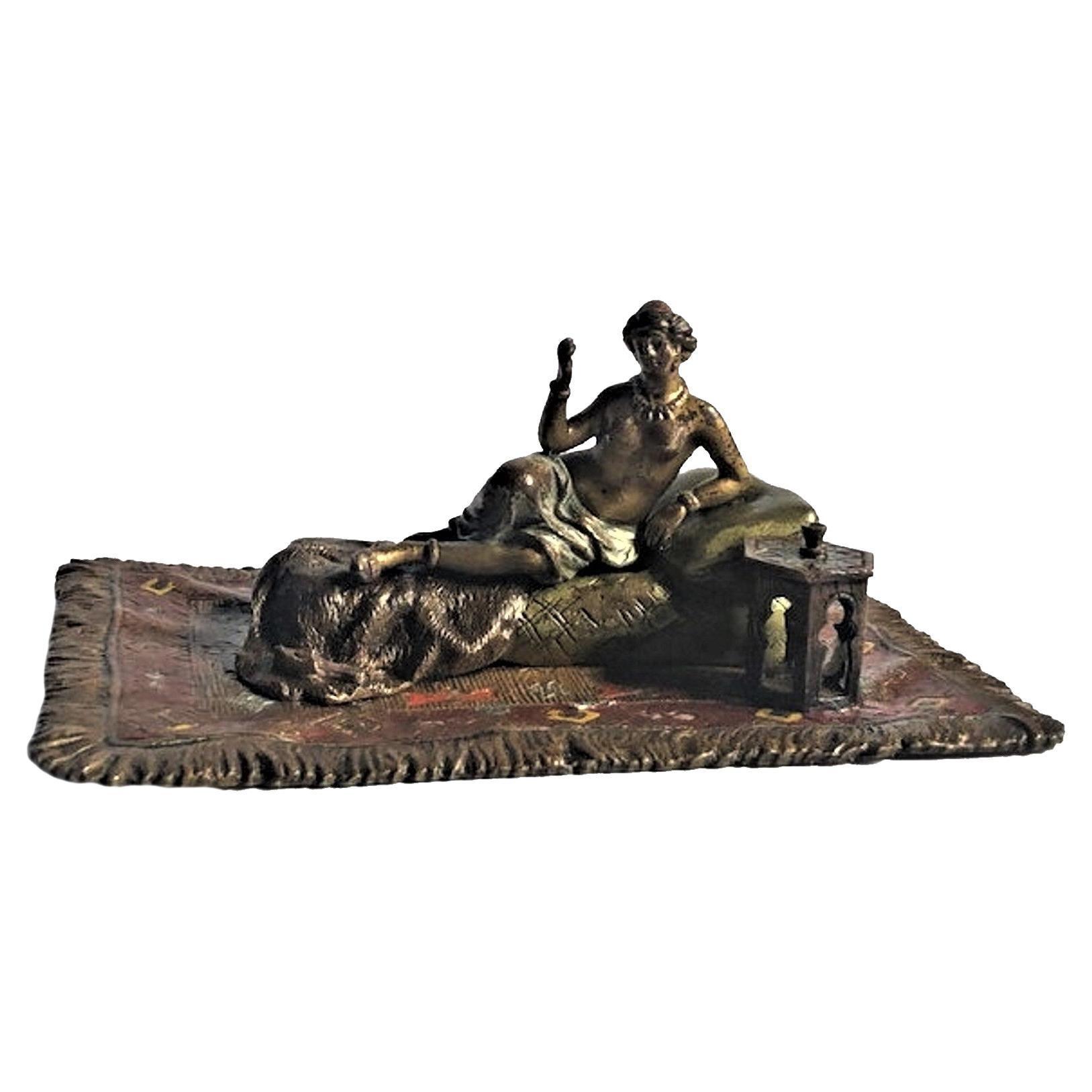 Franz Xaver Bergmann, Odalisque, Vienna Bronze Sculpture, Ca. 1900