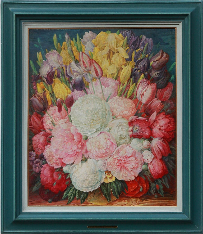 Oil on cardboard, 1947. Signed and dated lower right: F.X. UNTERSEHER 47. Framed.  Height: 25.59 in ( 65 cm ), Width: 21.46 in ( 54,5 cm )  Franz Xaver Unterseher ( 1888-1954 ) was a German painter, and graduated from the School of Applied Arts in