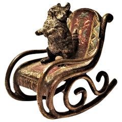 Franz Xavier Bergmann Kitten on Rocking Chair Miniature Vienna Bronze circa 1900