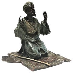 Franz Xavier Bergmann, Praying Man, Vienna Bronze Desk Sculpture, circa 1900