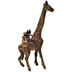 Franz Xavier Bergmann, Riding Giraffe, Miniature Vienna Bronze, circa 1900