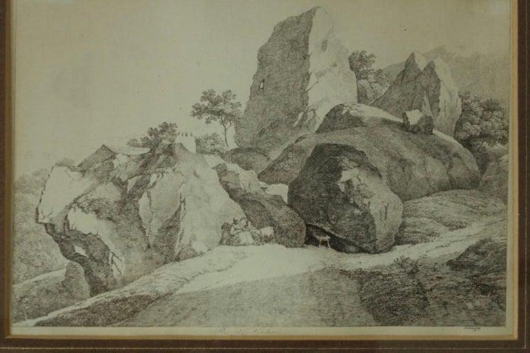 Antique Franz Xavier Lorenz etching framed with brown matting and gold trim. Radierung v Franz Xaver Lorenz Rektorzik-Brunn 1793-1851 7 x 10 etching.