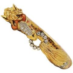 Frascarolo Diamond and Ruby Orange Enamel Horse Bangle Bracelet 18 Karat Gold