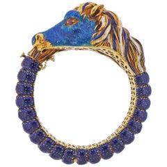 Frascarolo Enamel Diamond Ruby Gold Horse Bracelet