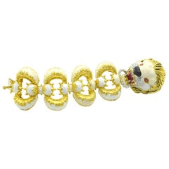 Frascarolo Enamel Diamond Ruby Gold Lion Bracelet