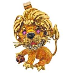 Frascarolo Enamel Diamond Ruby Gold Lion Pendant