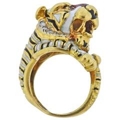 Frascarolo Enamel Diamond Ruby Gold Tiger Ring