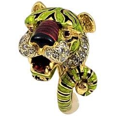 Frascarolo Enamel Tiger Ring with Ruby Eyes