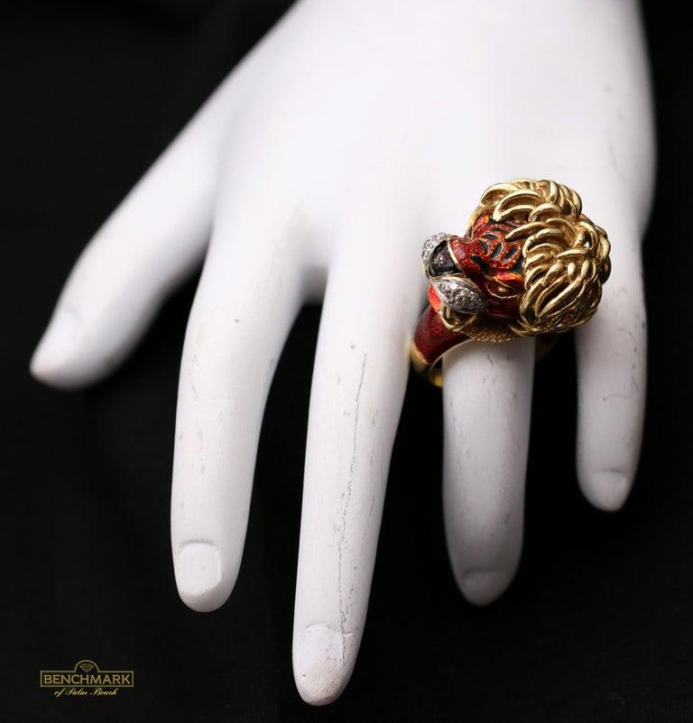 Women's Frascarolo Enameled Lion Ring with Golden Mane