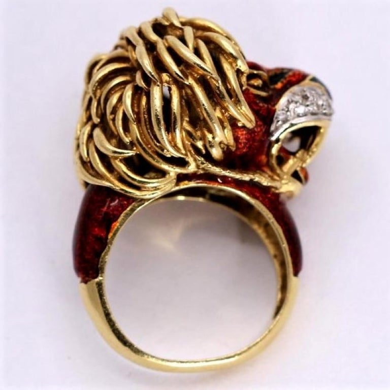 Frascarolo Enameled Lion Ring with Golden Mane 2