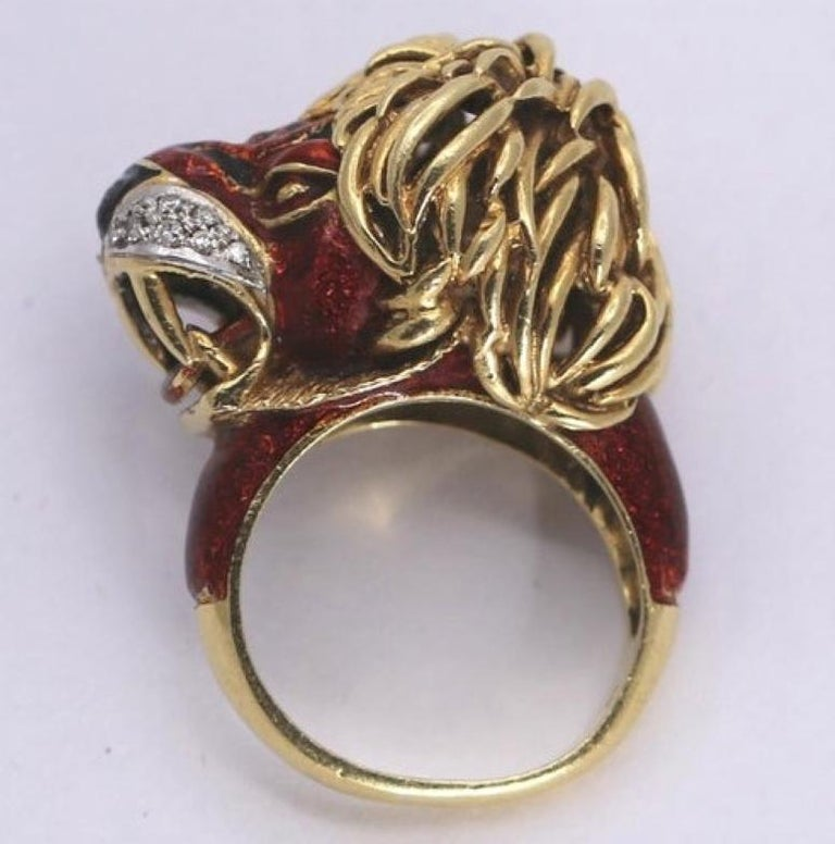 Frascarolo Enameled Lion Ring with Golden Mane 3